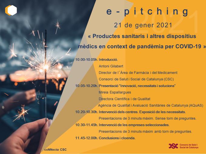 E-pitching 'Productes sanitaris i altres dispositius mèdics en contex de pandèmia per COVID-19'